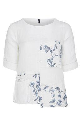 Linnen blouse met bloemenpatch, Wit