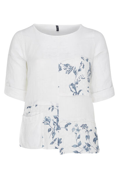 Blouse en lin patch fleuri - Blanc