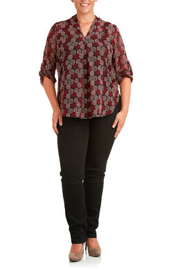 Blouse met herfstprint, Bordeaux