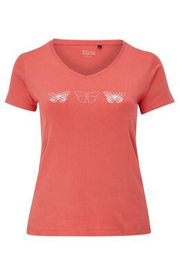 T-shirt coton bio imprimé 3 papillons, Corail