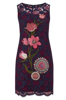 Kanten jurk, patches met bloemen en mandala's Bordeaux