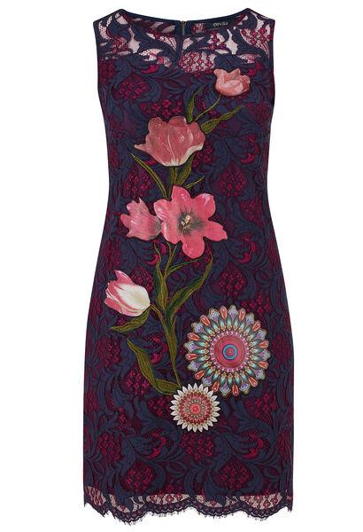 Kanten jurk, patches met bloemen en mandala's - Bordeaux