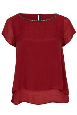 Dubbel effen shirt met halsparels, Tomaat