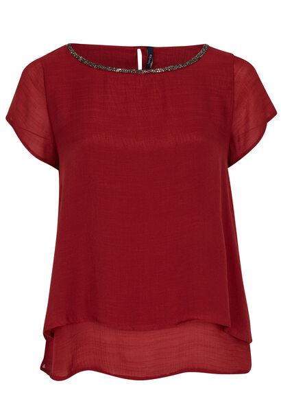 Dubbel effen shirt met halsparels - Tomaat