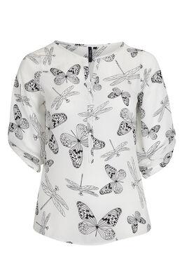 Zomers shirt, vlinders en libellen, Wit