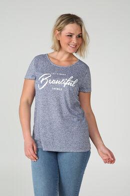 """T-shirt met print """"Beautiful"""", Lichtblauw"""
