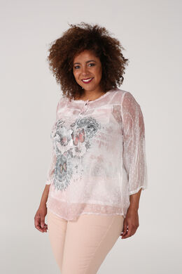 Blouse van voile met vlinderprint, Roze