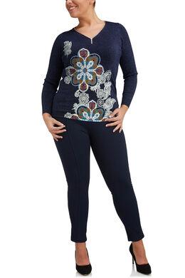 Trui met ritshals en bloemenprint, Marineblauw