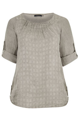Linnen blouse, Taupe