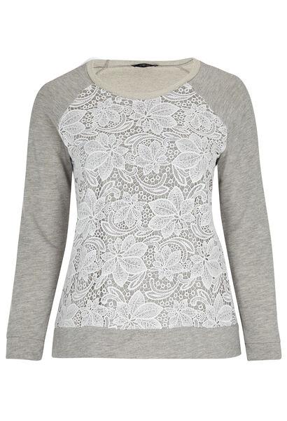 Sweater met knoopwerk - Gris Chine