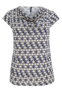 T-shirt van tricot met gomprint, Beige