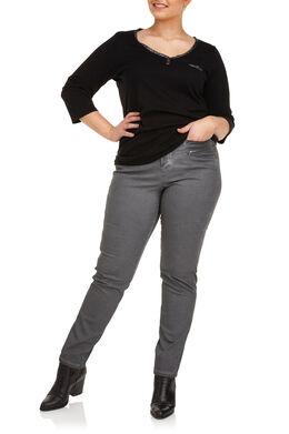 Koud geverfde broek met knoopwerk Antraciet