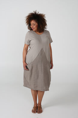 Robe ample bas resseré, Taupe