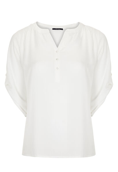 Shirt in effen voile - Ecru