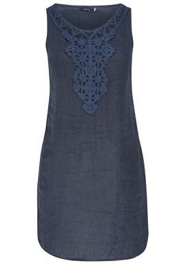 Linnen jurk met borststuk, Marineblauw