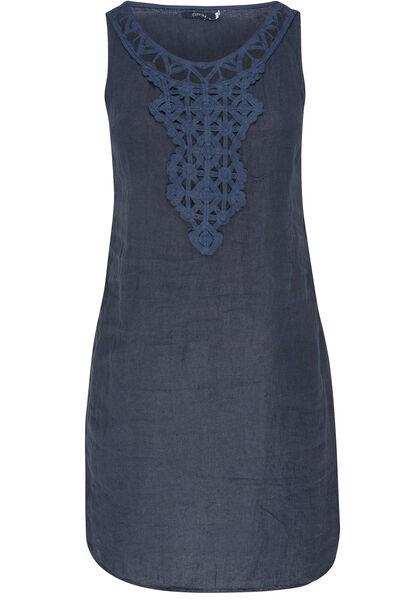 Linnen jurk met borststuk - Marineblauw