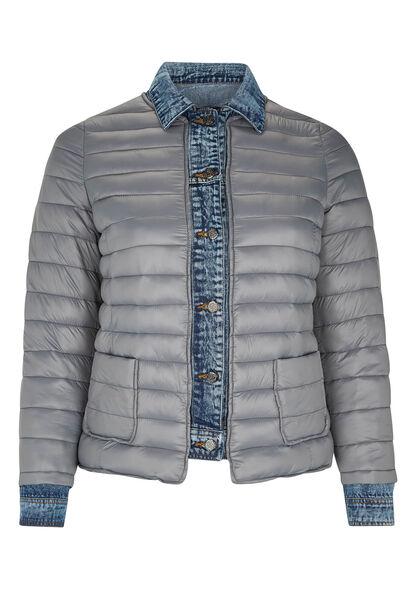 Doudoune détails jeans - Gris-moyen