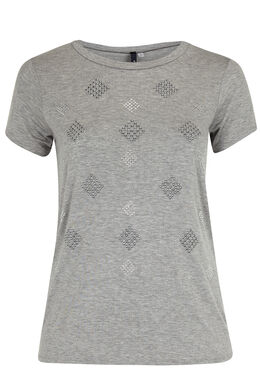 T-shirt in gevlamd tricot , Gris Chine