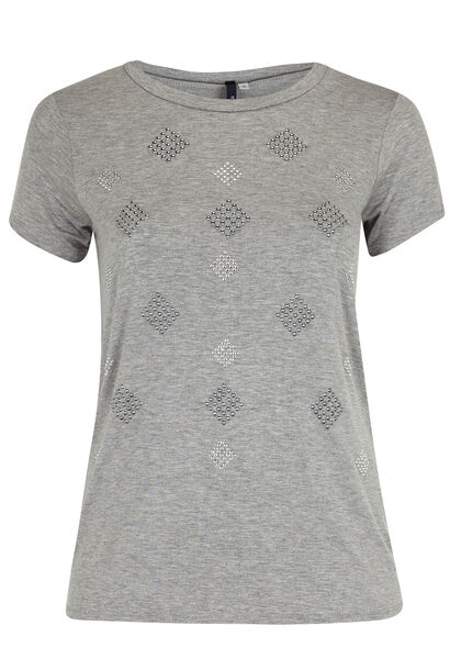 T-shirt in gevlamd tricot  - Gris Chine