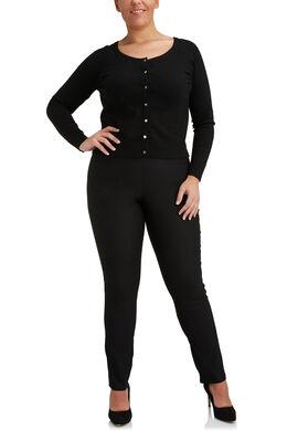 Geklede stretchbroek, elastische taille, Zwart