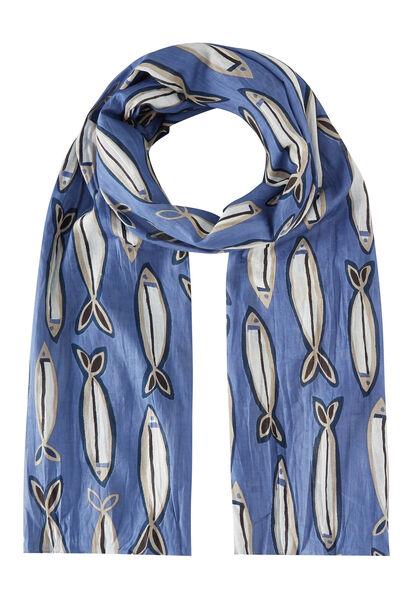 Sjaal bedrukt met vissen - Lavendel