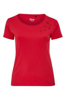 T-shirt en coton biologique brodé, Cerise