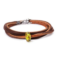 Summer Straws Leather Bracelet, Light/Dark Brown