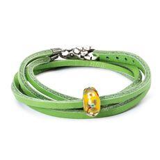 Summer Flowers Leather Bracelet, Green