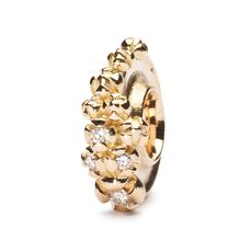 Gold Bougainvillea Bead with Diamonds