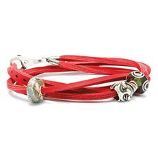 Leather Bracelet Red/Silver