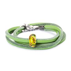 Summer Straws Leather Bracelet, Green
