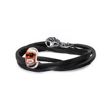 Trick or Treat Black Double Leather Bracelet