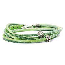 Leather Bracelet Green/Silver