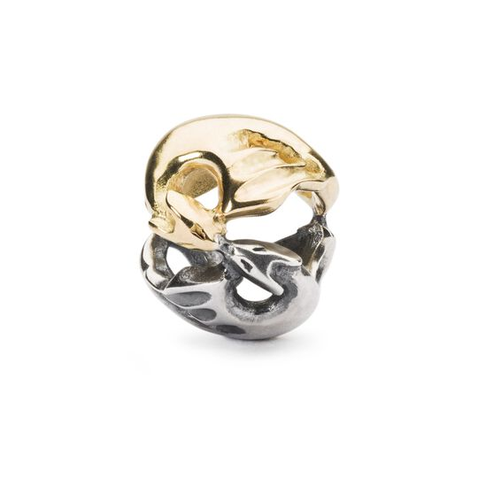 Dancing Dragons Bead, Silver and Gold