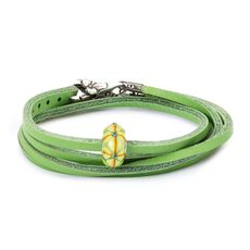 Summer Bushes Leather Bracelet, Green