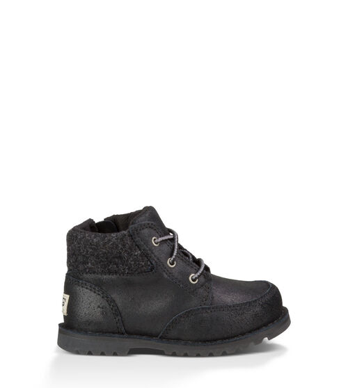 UGG Orin Wool Kids Lace Up Boots Black 7