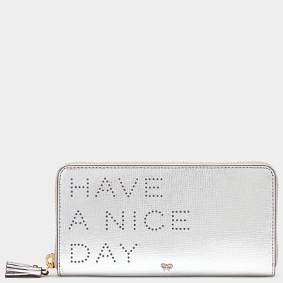 Have A Nice Day Large Zip-Around Wallet