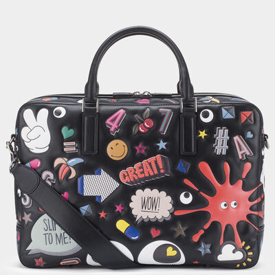 Men's All Over Stickers Walton Briefcase by Anya Hindmarch