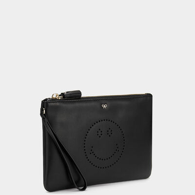 Smiley Zip-Top Pouch in {variationvalue} from Anya Hindmarch
