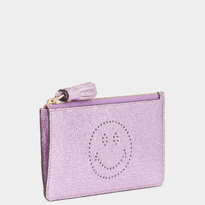 Smiley Zipped Card Key Case by Anya Hindmarch