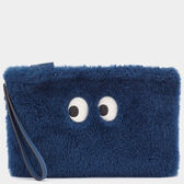 Eyes Shearling Pouch