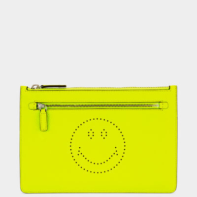 Smiley Double-Zip Pouch  by Anya Hindmarch