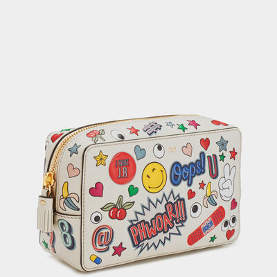 All Over Stickers Wink Make Up Pouch by Anya Hindmarch