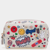 All Over Sticker Rubber Make-Up Pouch