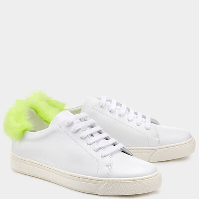 Fur Smiley Sneakers by Anya Hindmarch