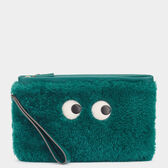 Eyes Shearling Zip Top Pouch by Anya Hindmarch