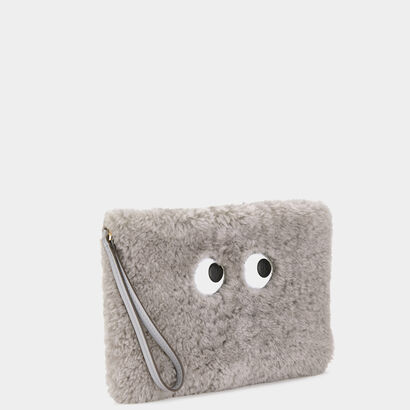Eyes Shearling Zip-Top Pouch
