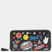 All Over Stickers Large Zip-Around Wallet