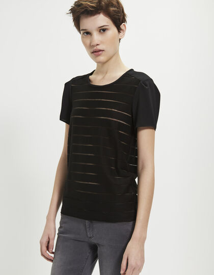 Women's mixed-fabric T-shirt - IKKS Women