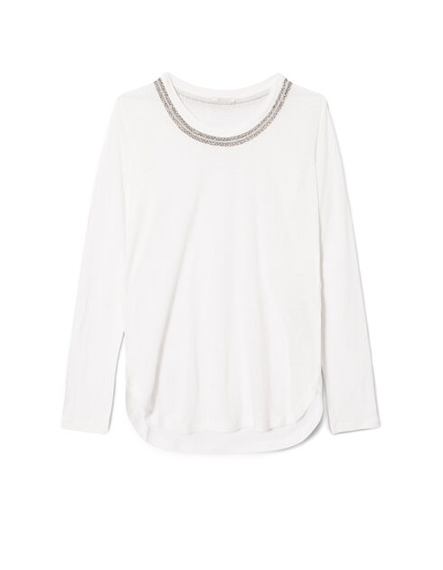 Jewel-neck T-shirt